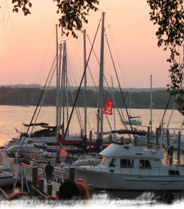 Sunset over the marina at Neryc