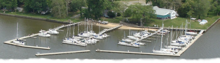 Aerial view of NERYC's modern marina and flaoting piers